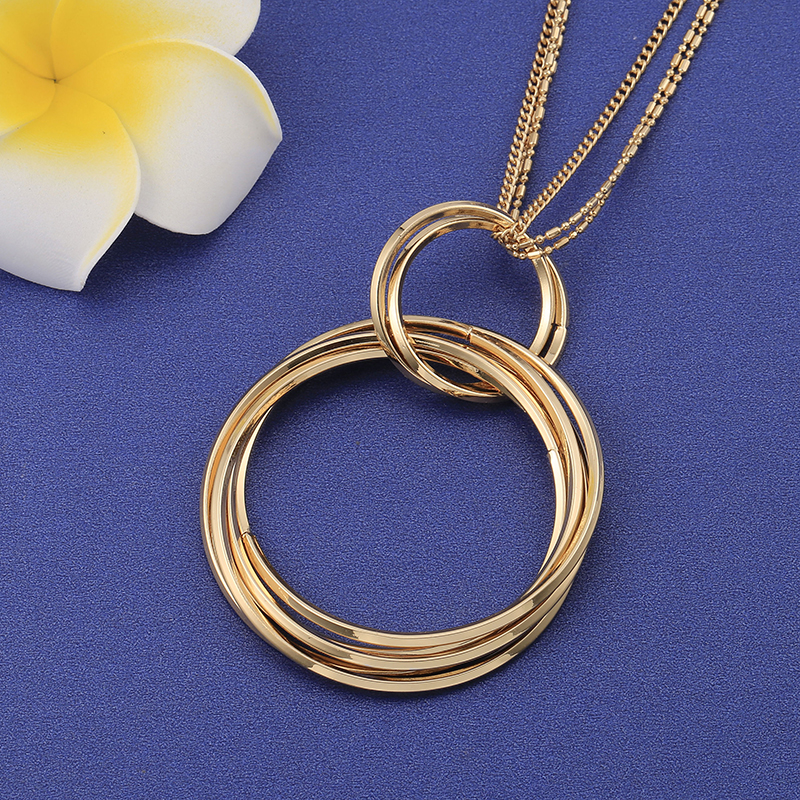 Elegant Gold Round Circles Long Necklace for Women Simple Layered Chain Big Pendant Necklace Girl 2019 Fashion Jewelry Gift