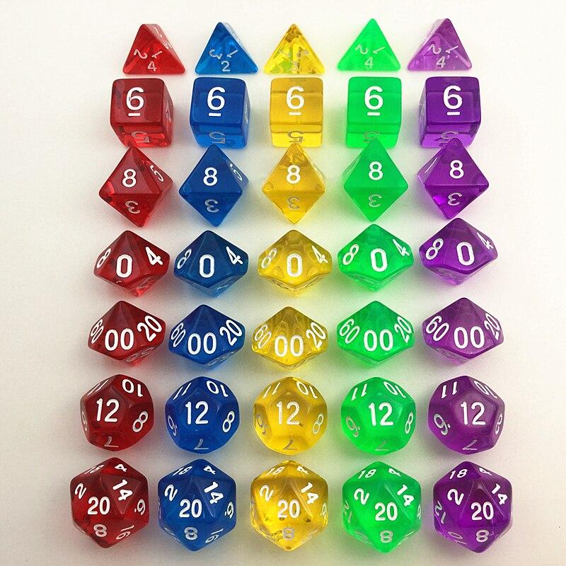 ₩Ventas al por mayor 7 unids/set translúcido RPG Dados fijaron D4 ...