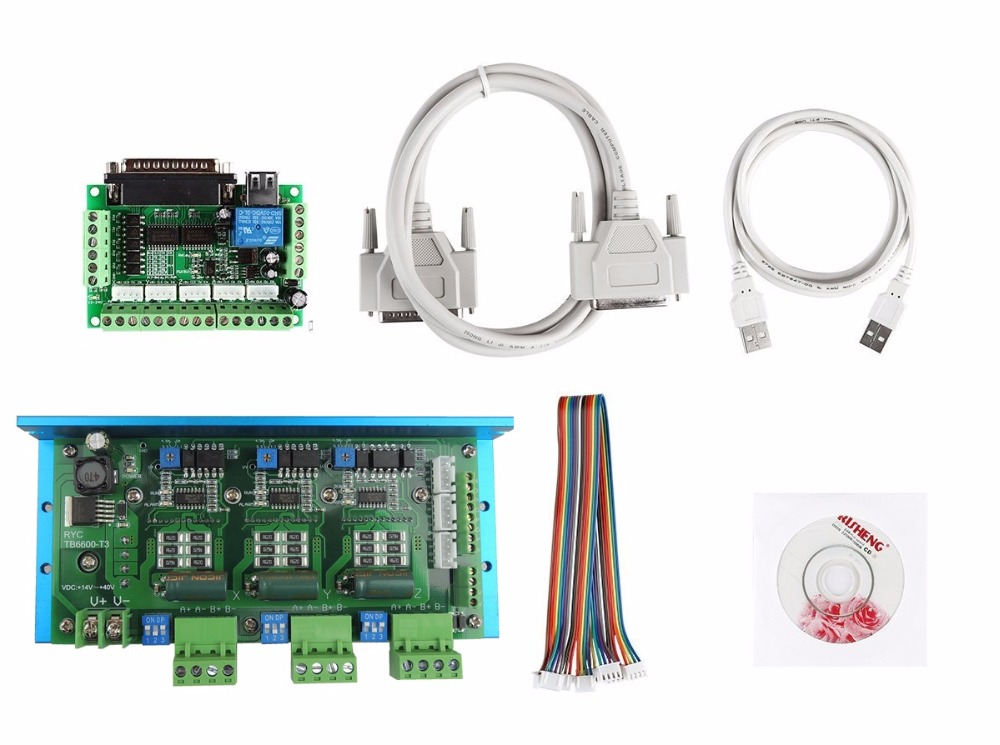 CNC Router 3 Axis Kit, TB6600 4 Axis 4.5A Stepper Motor Driver Board+ one mach3 5 axis breakout board cnc router 4 axis kit 2dm542 4 axis stepper motor driver replace m542 2m542 stepper driver mach3 5 axis breakout board