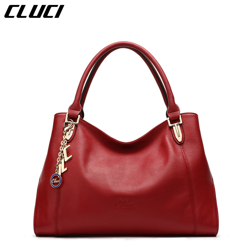 CLUCI Women's Handbags Luxury Real Genuine Leather Black Red Tote Bags Designer