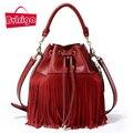 BVLRIGA 2017 bucket women tote bag tassels genuine leather bag women messenger bags famous brand designer handbags high quality