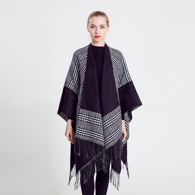 Brand Women Poncho Prorsum Winter Cashmere Acrylic Scarf Monogram Cape plaid tassel Blanket Pashmina bufanda manta