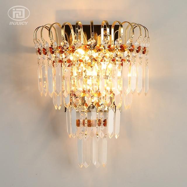 European Vintage Wall Lamp Luxury K9 Crystal Wall Light Bedroom ...