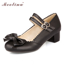 Meotina Femmes Chaussures Mary Jane Chaussures Femmes Arc Rose Chunky Talons printemps Carrés Talons Bas Noir Beige Rose Pompes Grande Taille 10 9