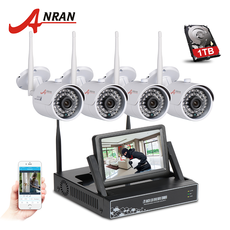 ANRAN Plug And Play Wireless CCTV System NVR Kit 7 Inch LCD Screen P2P 720P HD 36 IR WIFI IP Camera Outdoor Security Camera new listing plug and play 4ch wireless nvr kit 7 inch lcd screen 720p hd outdoor security wifi camera cctv system 1tb hdd