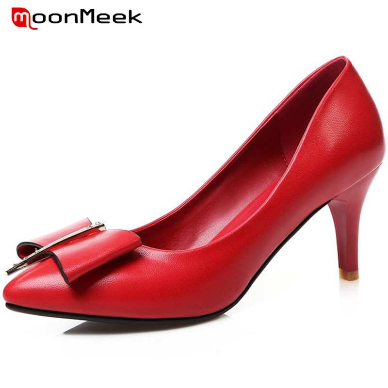ФОТО MoonMeek Shallow thin high heels shoes bowtie office lady work shoes pointed toe single shoes four seasons fashion