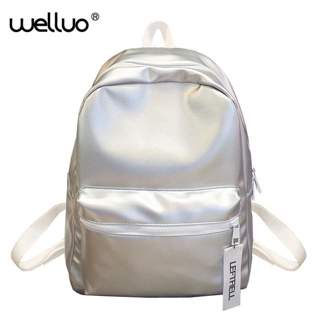 d054e58659de Hologram Laser Backpack Girl School Bag Women Pink Simple Metallic Silver  Schoolbag Girls Holographic Solid Backpacks New XA863B