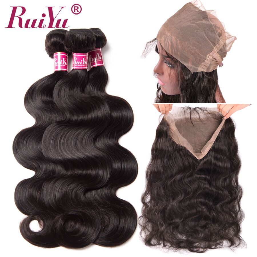 RUIYU 360 Lace Frontal With Bundles Brazilian Body Wave Human Hair Weave 3 Bundles With 360 Lace Frontal Closure Non Remy Hair