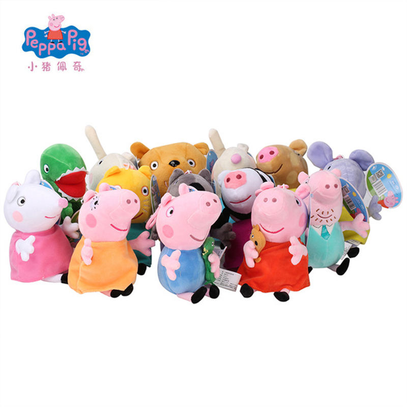 Original 19cm Peppa Pig George Animal Stuffed Plush Toys Cartoon Family Friend Pig Party Dolls For Girl Children Christmas Gift