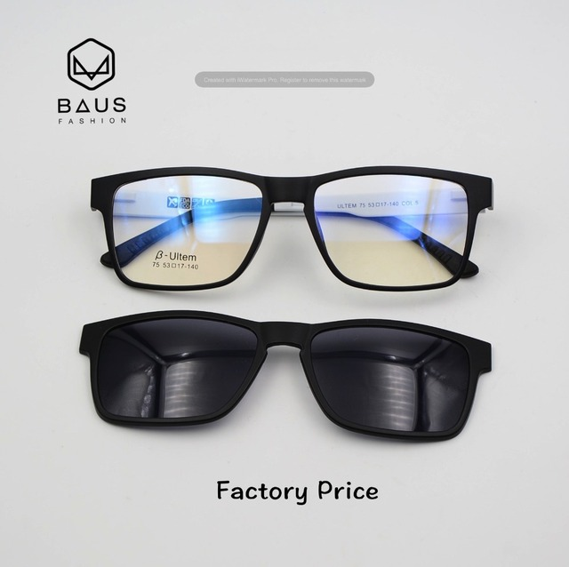 da4829dbea2 PK 75 ULTEM Sunglasses Magnetic Clip On Sunglasses Clip on Optical frames  with magnetic sunglasses Polaroid Lens Myopia glasses