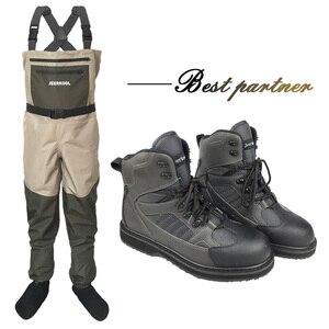 Image 1 - Botas de pesca con mosca para hombre y mujer, pantalones y zapatos de pesca con suela de goma, traje impermeable, mono al aire libre, ropa de trabajo aguas arriba DXR1