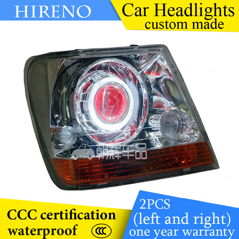 Hireno custom Modified Headlamp for Jeep 2500 2700 Headlight Assembly Car styling Angel Lens Beam HID Xenon 2 pcs hireno headlamp for cadillac xt5 2016 2018 headlight headlight assembly led drl angel lens double beam hid xenon 2pcs