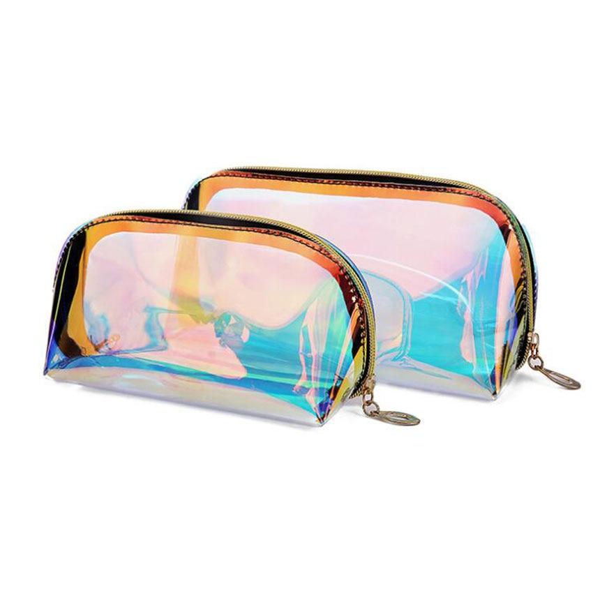 Cosmetic-Bag Transparent Travel Waterproof Laser Magic-Color Ladies
