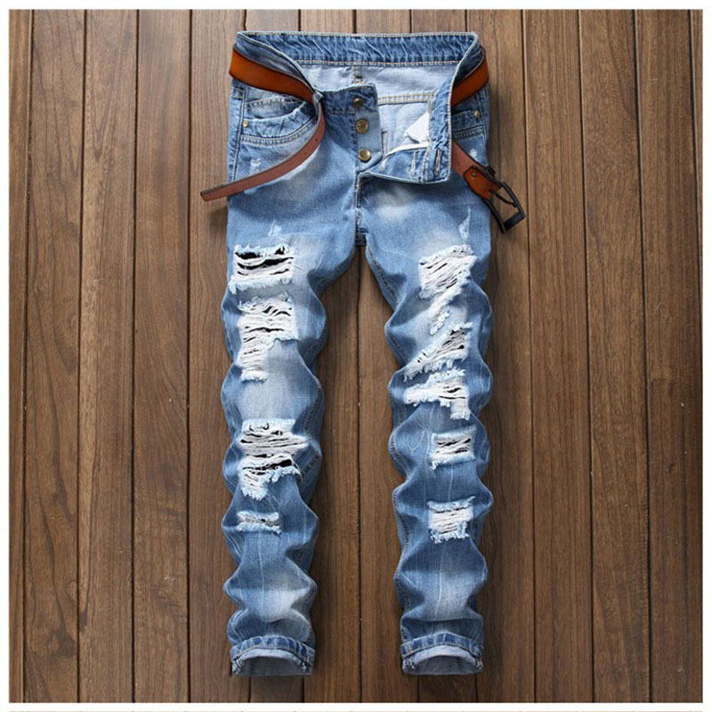 New Autumn Hole Denim Jeans Men Causal Calca Masculina Fashion Trousers Scratched Jeans Pants Male Straight Slim Pant Button Fly