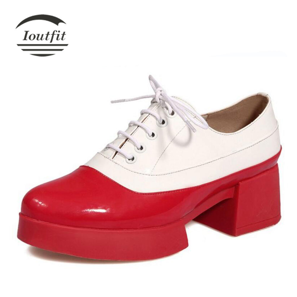 Ioutfit Ladies Shoes 2017 Fashion Patent Leather British Style Oxford Shoes For Women Platform