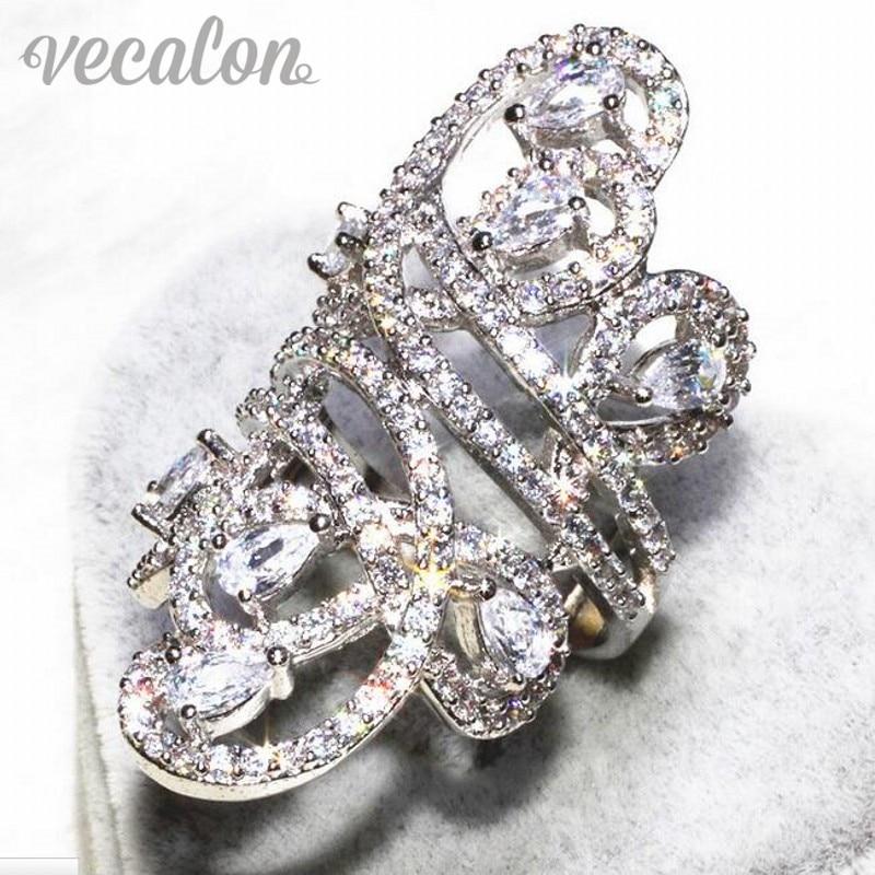 Vecalon Magnifique ligne Large anneau Femmes Hommes Bijoux AAAAA Zircon Cz 925 En Argent Sterling Engagement wedding Band anneau Sz 5-11