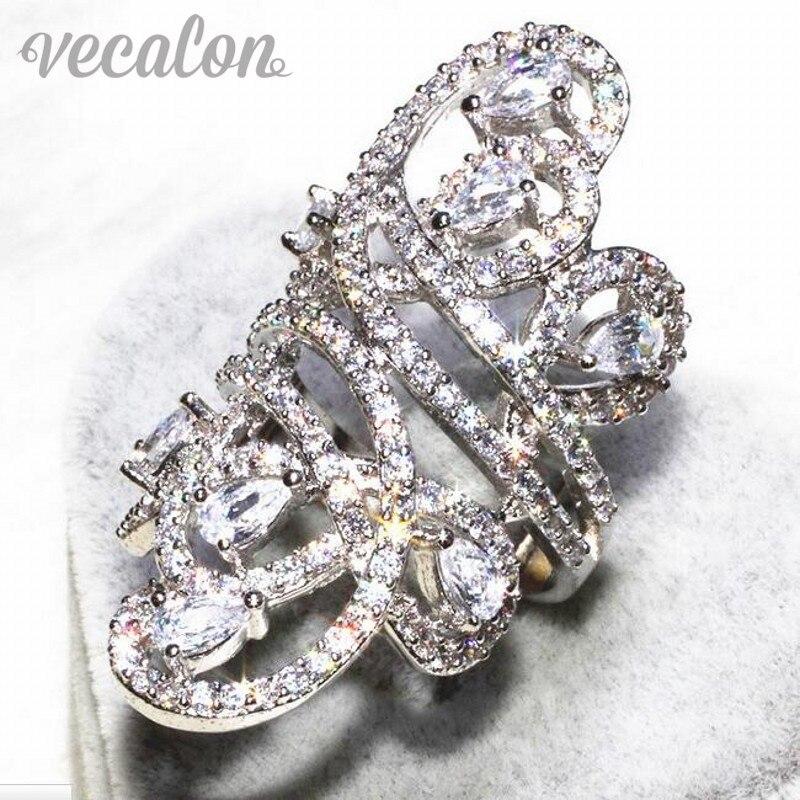 Vecalon Splendida linea Ampio anello Donna Uomo Gioielli AAAAA Zircone Cz 925 Sterling Silver Fidanzamento wedding Band ring Sz 5-11