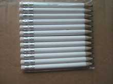 12 dozens 144pcs white color 3.5 inch half length 100mm blank logo round wooden material eraser golf pencil