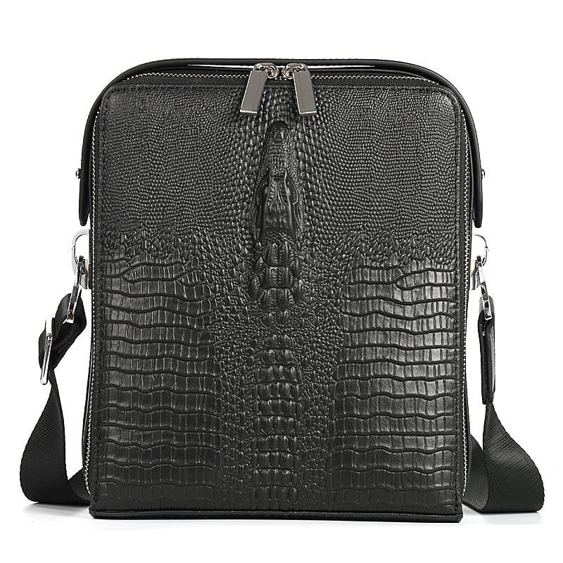 купить 2018 New Fashion Men Bags Genuine Leather Male Bag Double Zipper Men Messenger Bags Promotional Small Crossbody Shoulder Bag Man онлайн