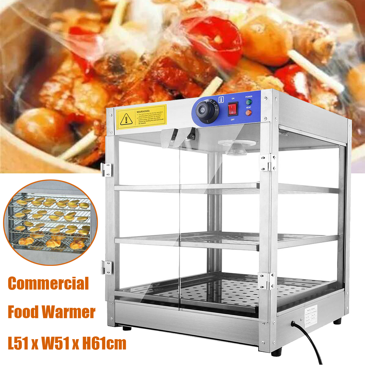 800W Food Showcase Cabinet 3-layer Display Warmer Showcase Food Storage Warm Equipment for Kitchen hot dog display electric food warmer stainless steel food warmer cabinet warmer showcase warmer display