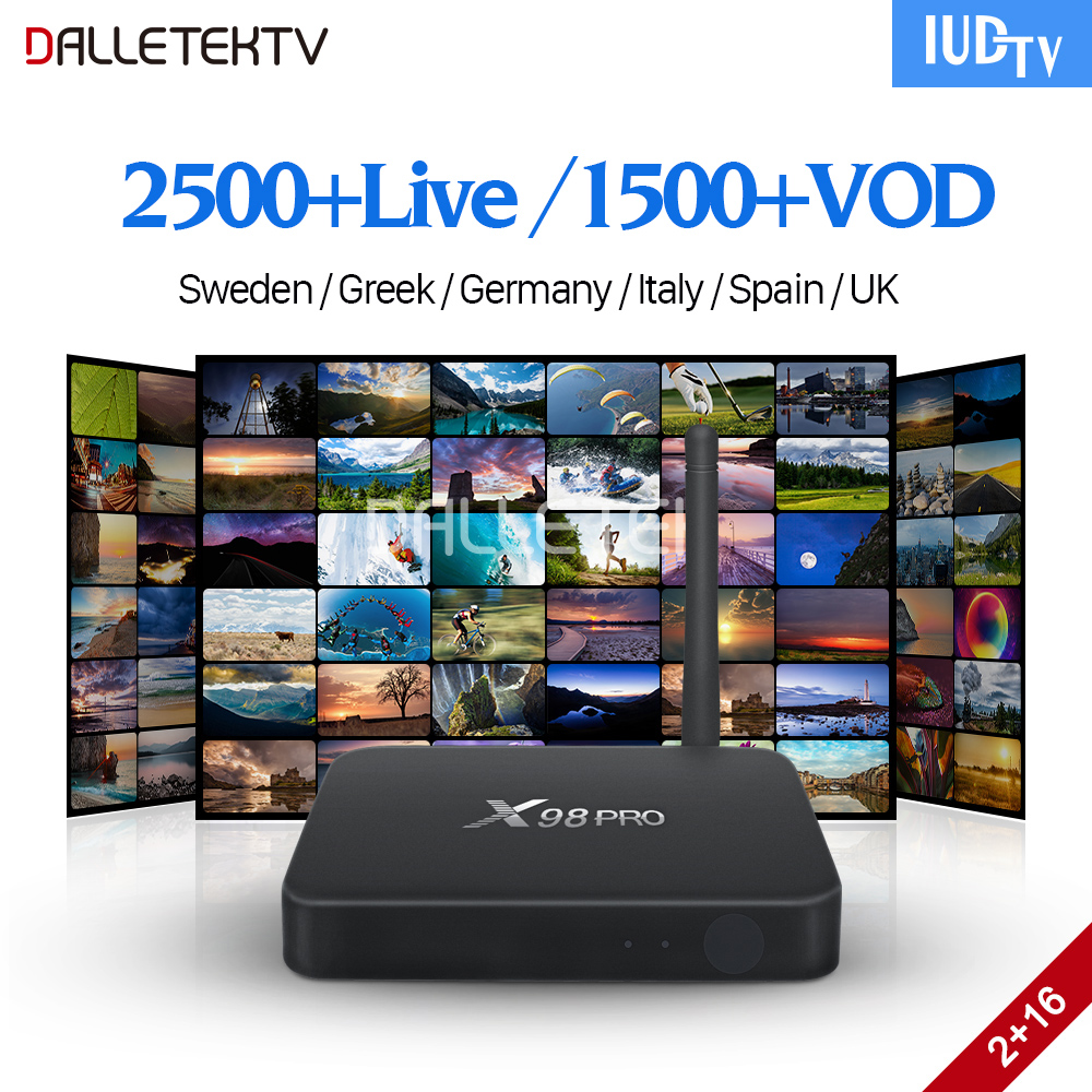 Sweden IPTV Box X98 Pro Android TV Receivers with IUDTV 1 Year IPTV Subscription IPTV Sweden Portugal Turkey Italy Spain IP TV