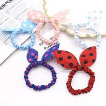 Random Sent 1 Pcs Kawaii Adorable Bunny Bowknot Headbands Rabbit Ears Dot Headwear Elastic Hair Rope(China)