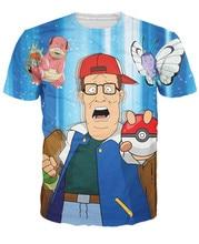 Король хилл покемон футболка забавный мультфильм майки топы летний стиль свободного покроя майка женщины мужчины Большой размер S-3XL бесплатная доставка