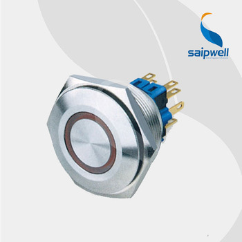 Self Lock Type 30mm Metal Lamp Push Button Switch /Flat  Shape Stainless Steel  Cabient Use Enclosed  Button Switch  (SP30-A1)