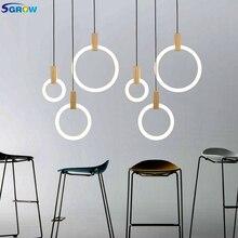 SGROW Творческий Дизайн акриловый Кольцо Кулон светильники современный деревянный подвесной светодиодный светильник Освещение в помещении для Спальня Гостиная