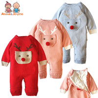 2018 New Winter Christmas Elk Boy and Girl Rompers Cotton and Cashmere Baby Dress Baby Conjoined