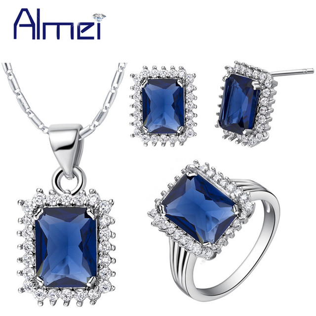 Almei Jewelry Sets Blue Stones Silver for Women Wedding Bridal,Fashion Crystal Conjunto Joias Earrings with Necklace Ring T522