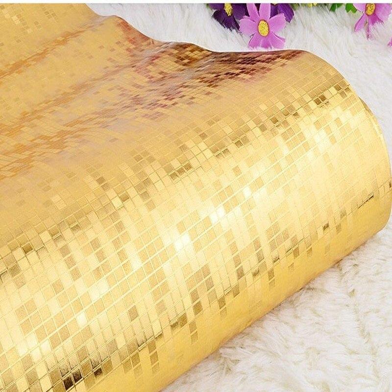 Livraison gratuite or argent treillis réfléchissant papier peint KTV bar plafond salle de bain mosaïque feuille d'or papier peint - 2