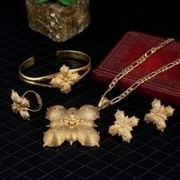 Bangrui Habesha Set Ethiopia Necklace Earrings Ring Bangle Gold Plated Eritrea Set Enkutatash Ethiopian Dubai Gold
