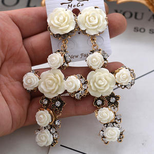 Drop-Earrings Jewelry Crystal Cross White Vintage Bohemian Women Gift Statement Big Brincos