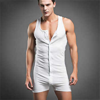 Men\'s Sleeveless Denim Overalls Jumpsuits Short Pants Men\'s Underwear One Piece Cotton Tank Bodysuit Leotard Top Boxer Brief