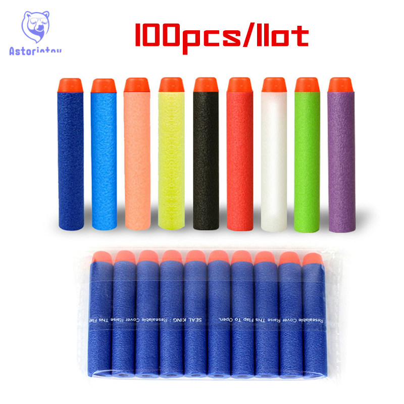 100 Pcs Fluorescence Dart Refills Universal Standard Round Head Hollow Foam Bullets For Nerf Toy Gun
