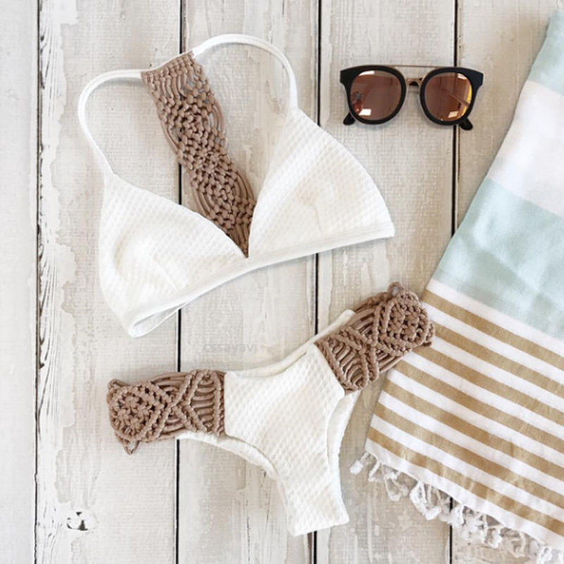 2017 Bikinis White Knitting Sexy Bikini Set Women Hollow Out Low Waist Maillot De Bain Femme Strappy Lady Biquini Bathing Suit