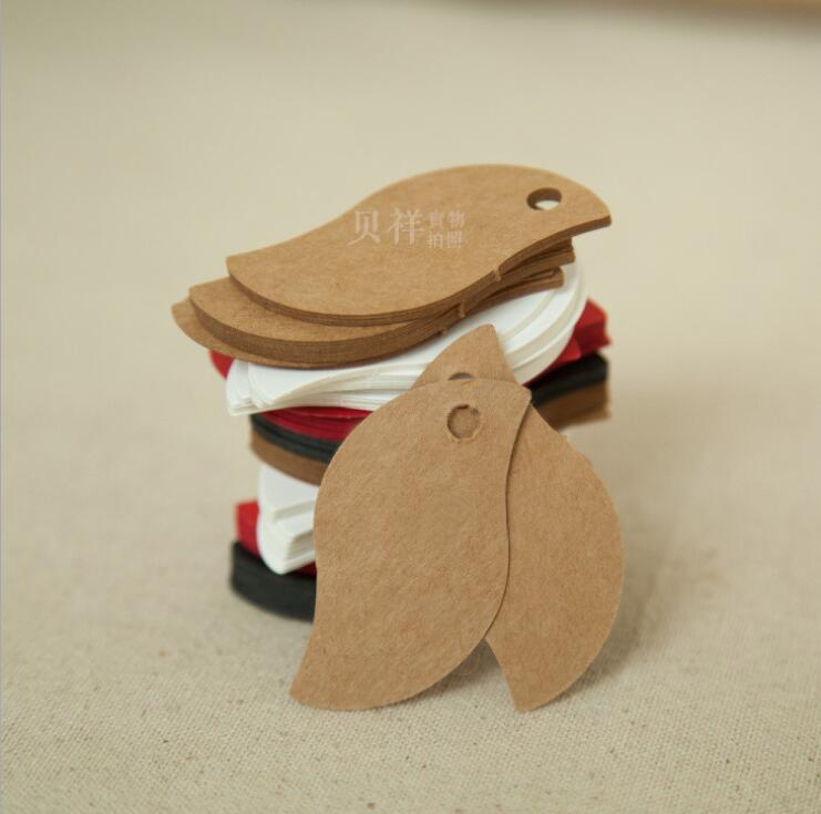 Wholesale leaf shape Brown Kraft Paper Wedding Luggage DIY Blank price Gift Hang tag 100pcs/lot