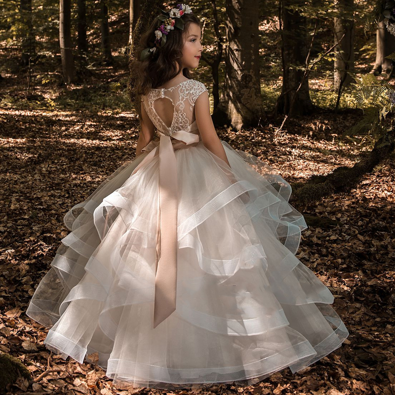 New   Flower     Girl     Dresses   Blush Pink First Communion Gowns For   Girls   Ball Gown Cloud Beaded Pageant Gowns Vestido De Daminha