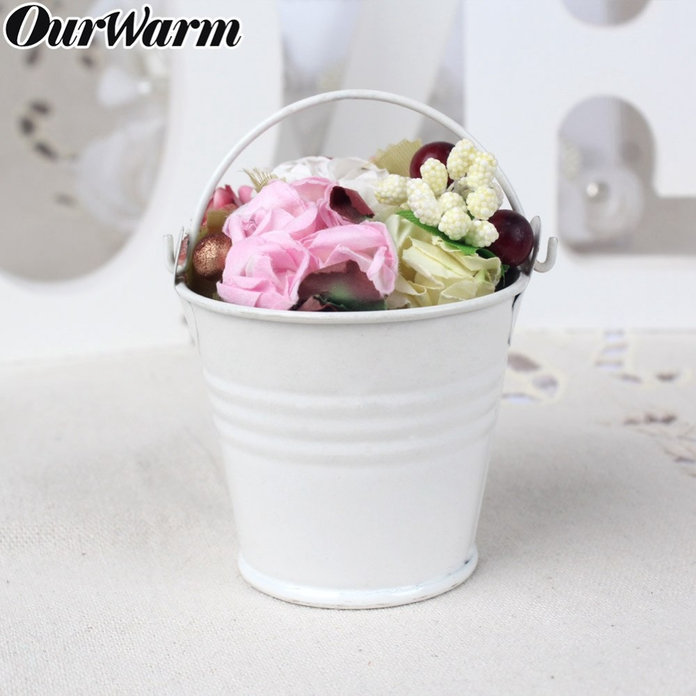 OurWarm Mini Tinplate Metal Bucket Icing French Fries Tin Pails Wall Vertical Hanging Bucket Iron Holder Basket Colorful