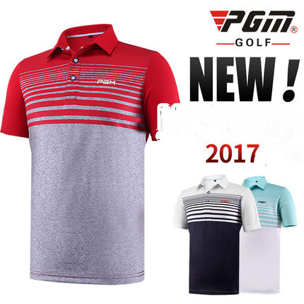 PGM 2017 new Golf Short-sleeved Stripes T-shirt Summer Breathable Dry Fit Polo Shirt men golf Sportswear shirt
