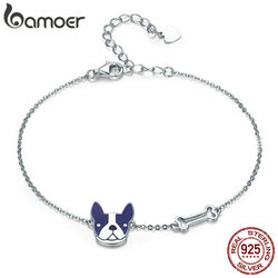 BAMOER Hot Sale 100% 925 Sterling Silver French Bulldog & Dog Bone Lobster Chain Link Women Bracelet Silver Jewelry SCB064
