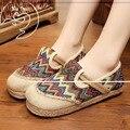 Старинные Вышивки Женская Обувь Квартиры Таиланд Boho Радуга Полосы Harajuku Национальной Конопли Нижние Мокасины Sapato Feminino