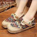 Vintage Embroidery Women Shoes Flats Thailand Boho Rainbow Stripes Harajuku National Hemp Bottom Loafers Sapato Feminino