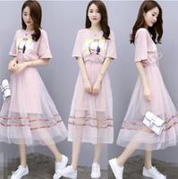 2019 Summer Gauze Skirt Suits Women New Graffiti Printing T shirt & Pink/ blue Mesh Skirts Set Girl Students Two Piece Suit