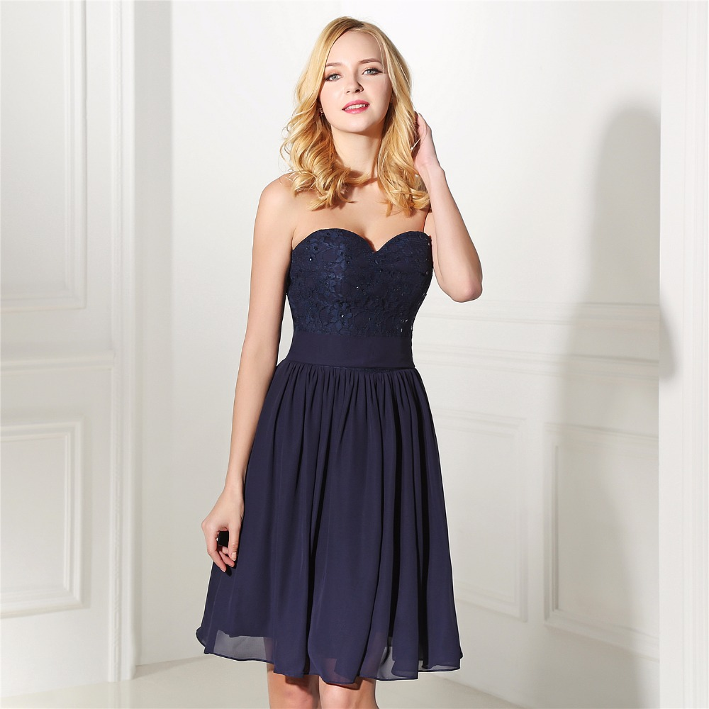 Aliexpress buy brlmall navy blue bridesmaid dress sweetheart aliexpress buy brlmall navy blue bridesmaid dress sweetheart backless knee length vestido madrinha chiffon lace wedding guest dresses from reliable ombrellifo Images