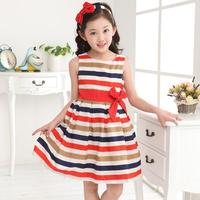 2017 Kids Children Skirt Big Virgin Sources Dress Big Bow Rainbow Striped Cotton Dress Girls