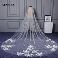 One Layer Cut Edge Simple Long Bride Veils Champagne Tulle Wedding Veils Cathedral Veil for Bridal SBV41
