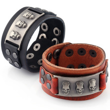 Creative Vintage Wide Cuff Leather Bracelets 3 Skull Bracelets & Bangle for Women Men Jewelry Fashion Punk Accessory Gifts FS056