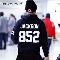 Kpop got7 jackson same black pullover hoodies for got 7 fans supportive casual fleece sweatshirt sudaderas